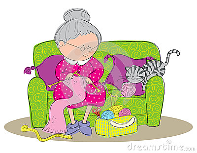 Hand Drawn Picture Of A Old Woman Knitting A Scarf  Illustrated In A