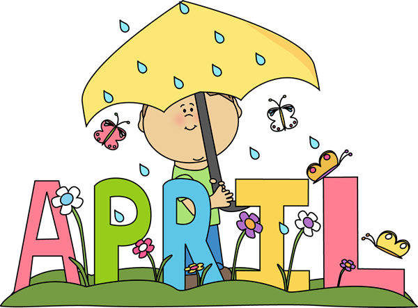 Month Of April Rain Clip Art Image   The Word April In Bright Pastel