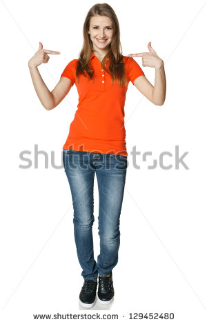 Point To Self Clipart Young Casual Woman Pointing At