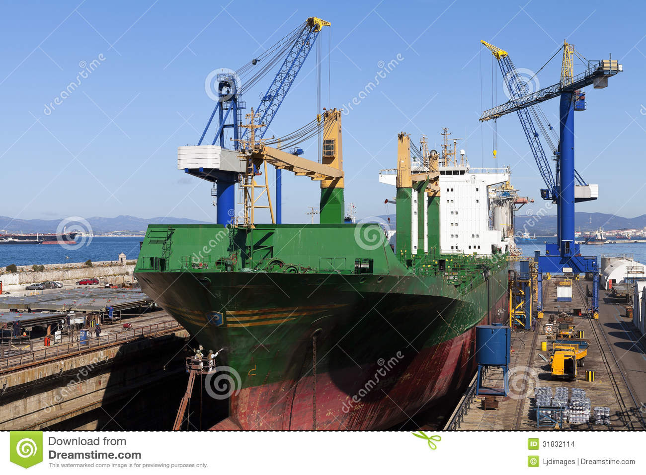 Ship In Dry Dock For Repairs Stock Images   Image  31832114