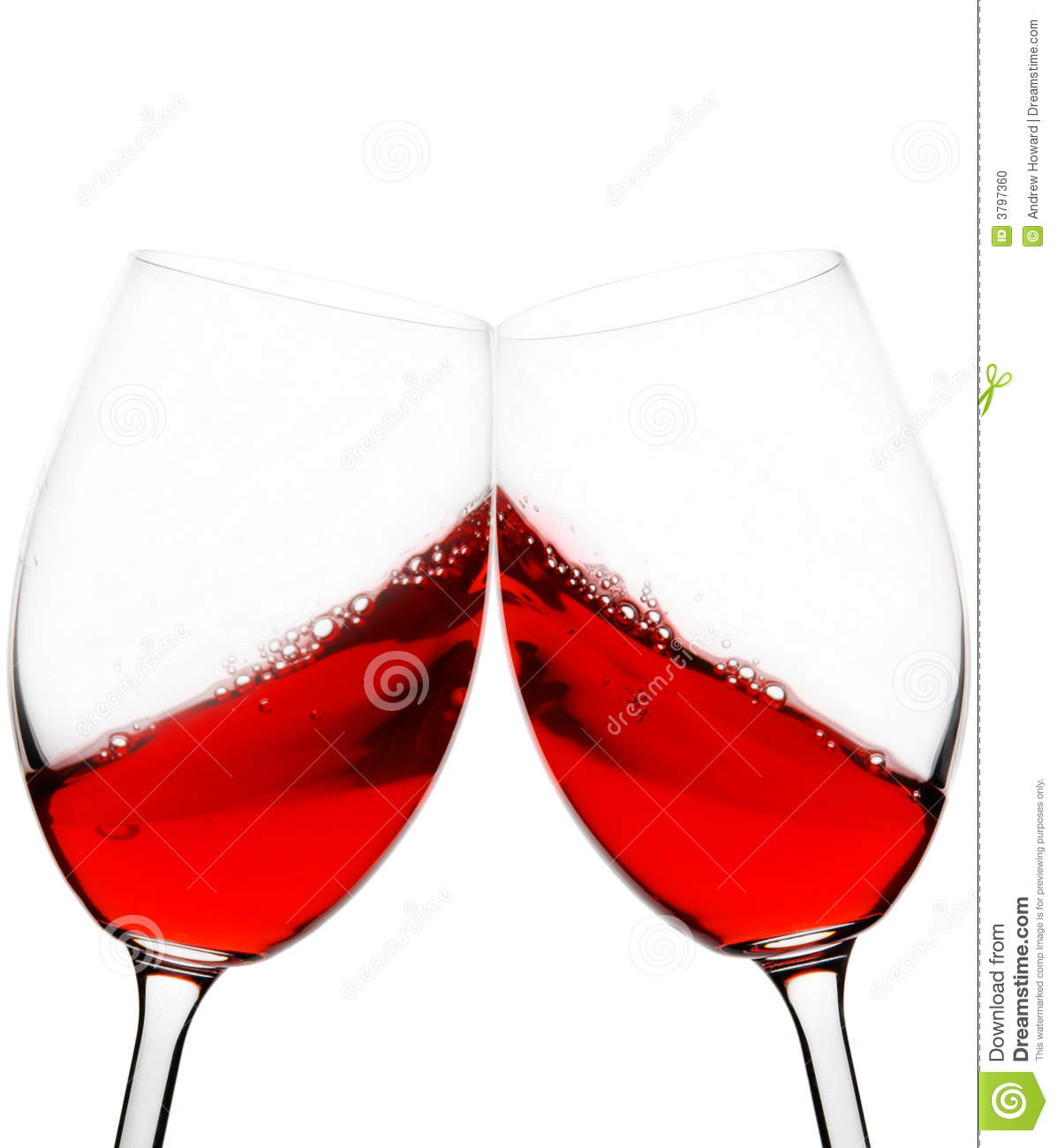 Two Red Wine Glasses Raised In A Toast Isolated On White