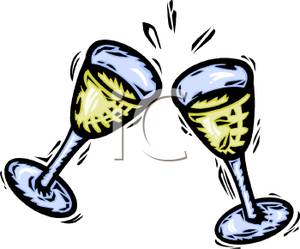 Two Wine Glasses Touching Together In A Toast   Royalty Free Clipart