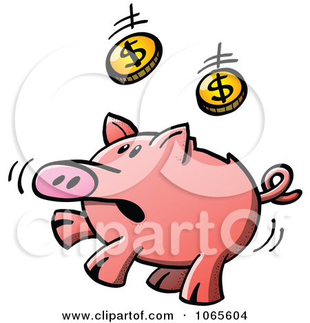 Clipart Illustration Of A Crushed Piggy Bank With Dollar Coins By
