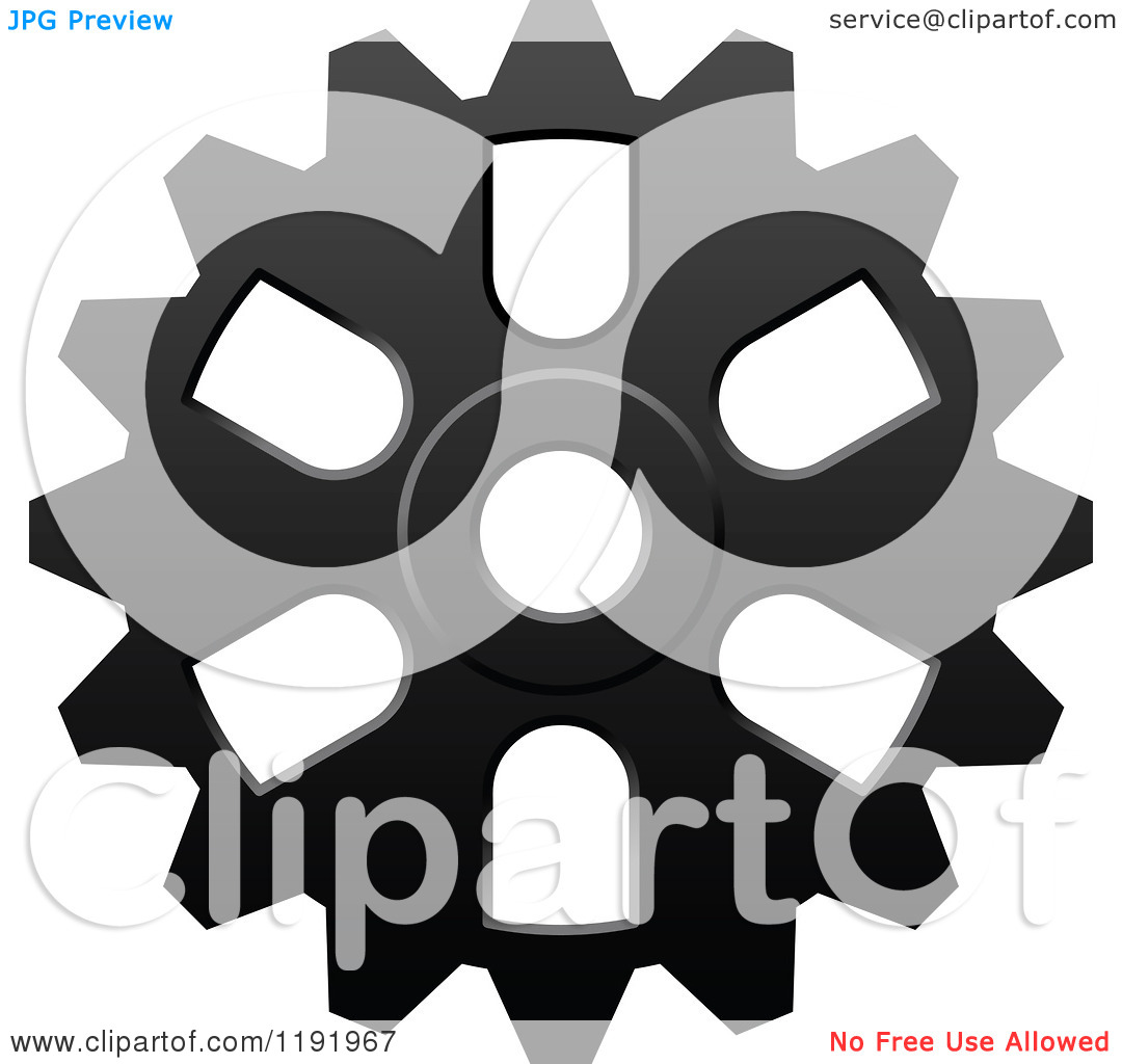 Clipart Of A Black And White Gear Cog Wheel 12   Royalty Free Vector