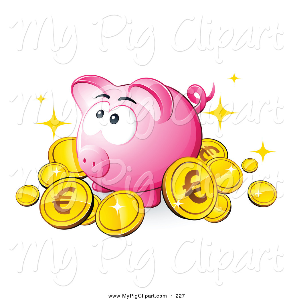 Clipart Of A Pink Piggy Bank Surrounded By Sparkling Gold Euro Coins