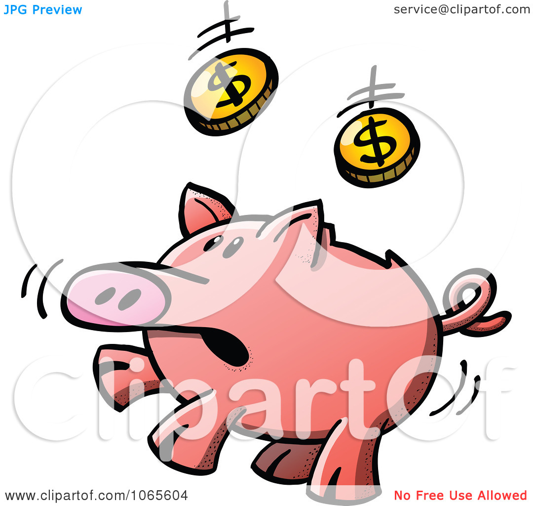 Clipart Piggy Bank Jumping To Catch Coins   Royalty Free Vector