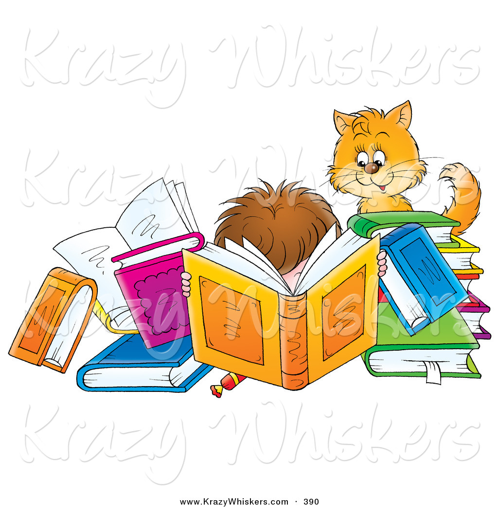 Critter Clipart Of A Cat Watching A Boy Reading A Book Amidst Many