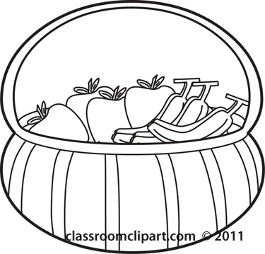 Food   Culinary Fruit Basket Outline   Classroom Clipart