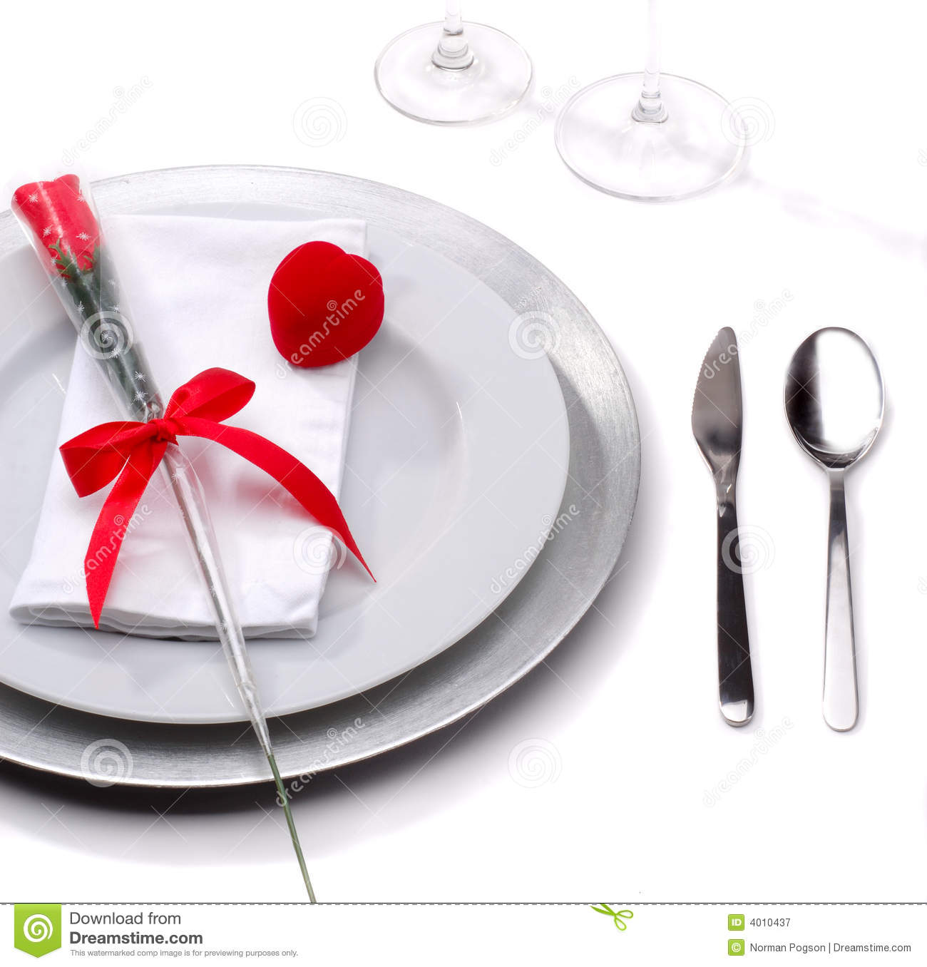 For A Romantic Valentines Day Dinner With A Red Rose And Ring Box