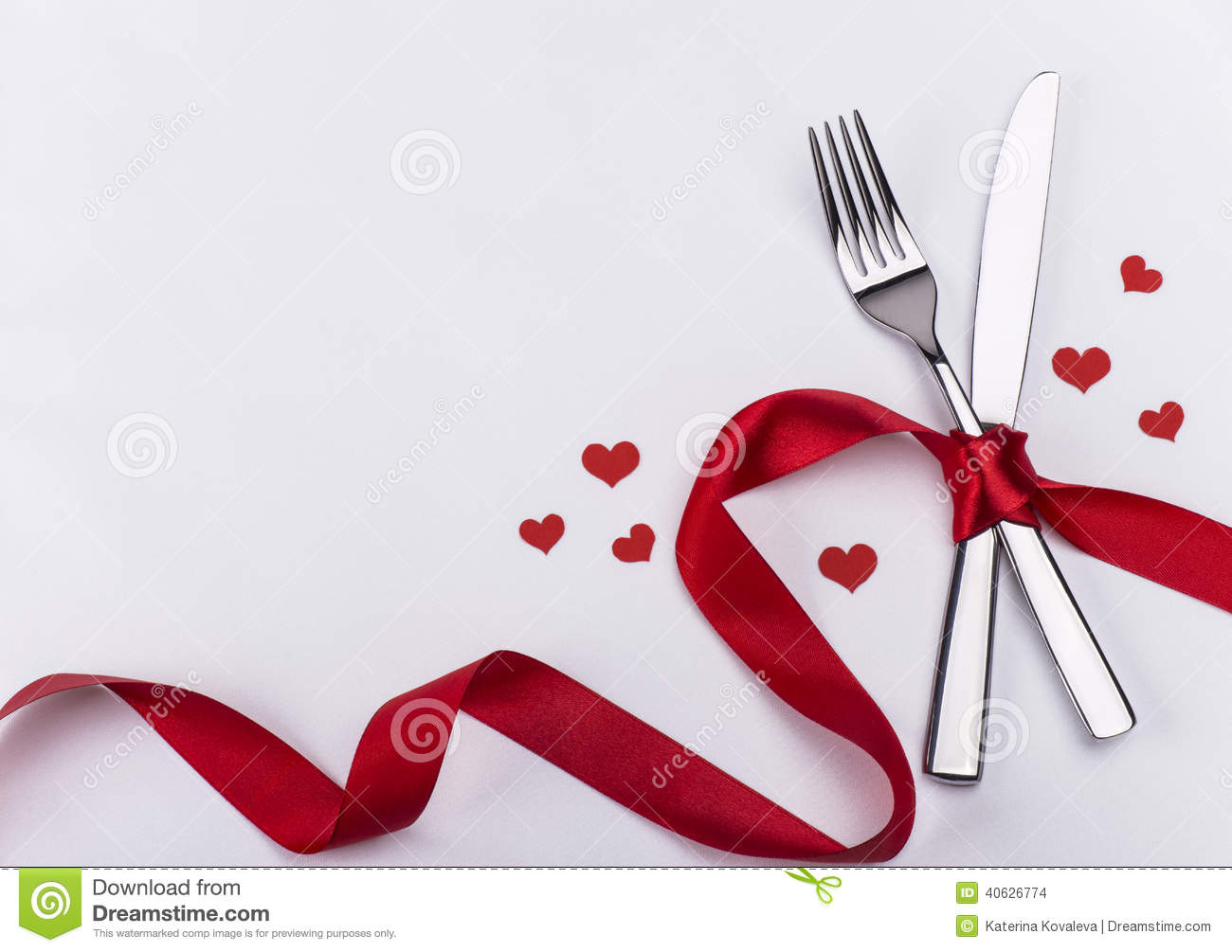 Fork And Knife For Wedding Celebration Background Stock Photo   Image