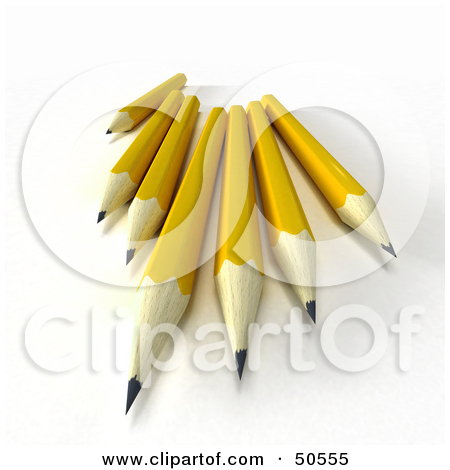 Free  Rf  3d Clipart Illustration Of A Group Of Sharp Yellow Pencils