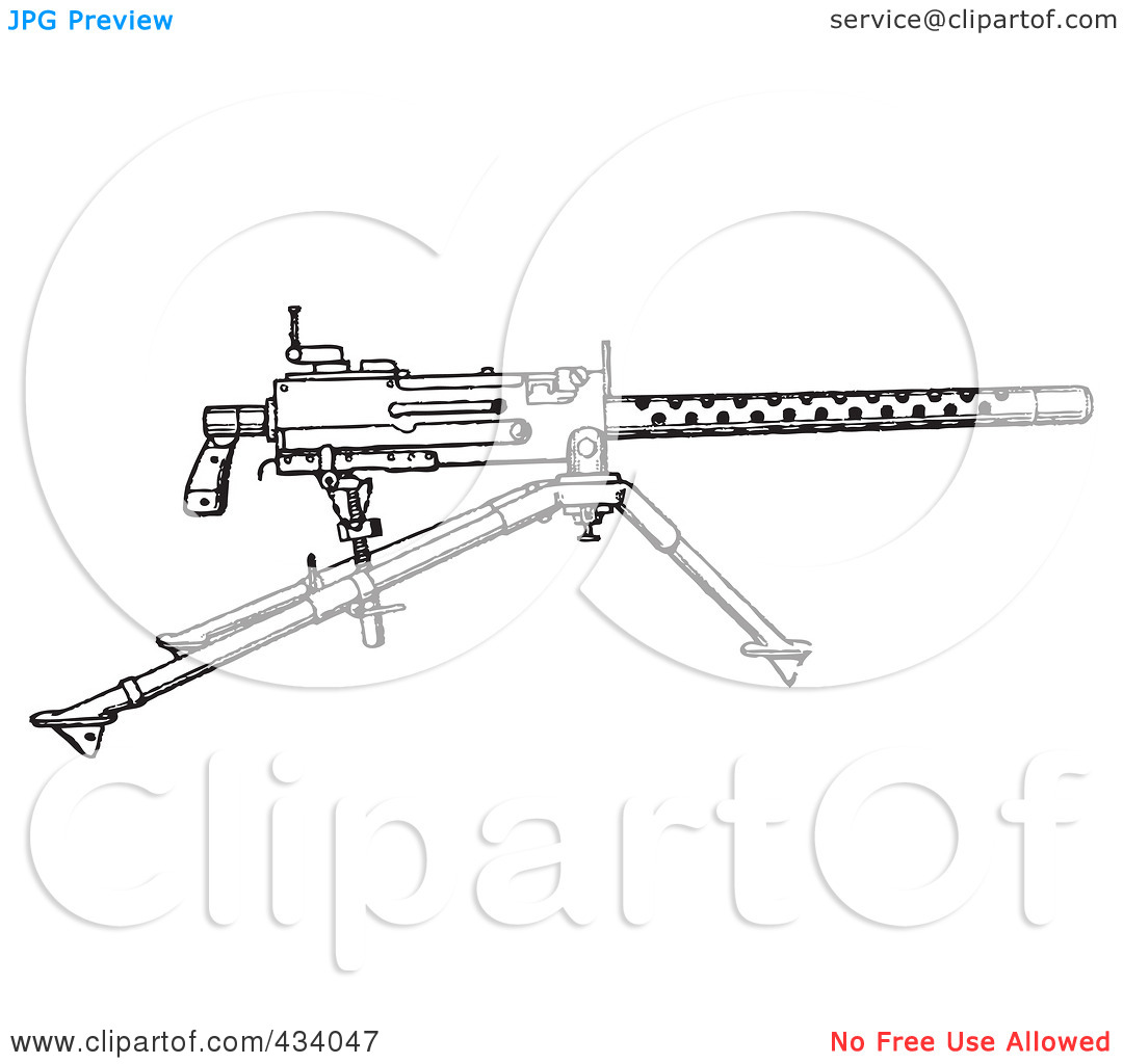 Free  Rf  Clipart Illustration Of A Vintage Black And White War Gun