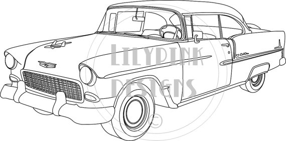 55 chevy convertible clipart