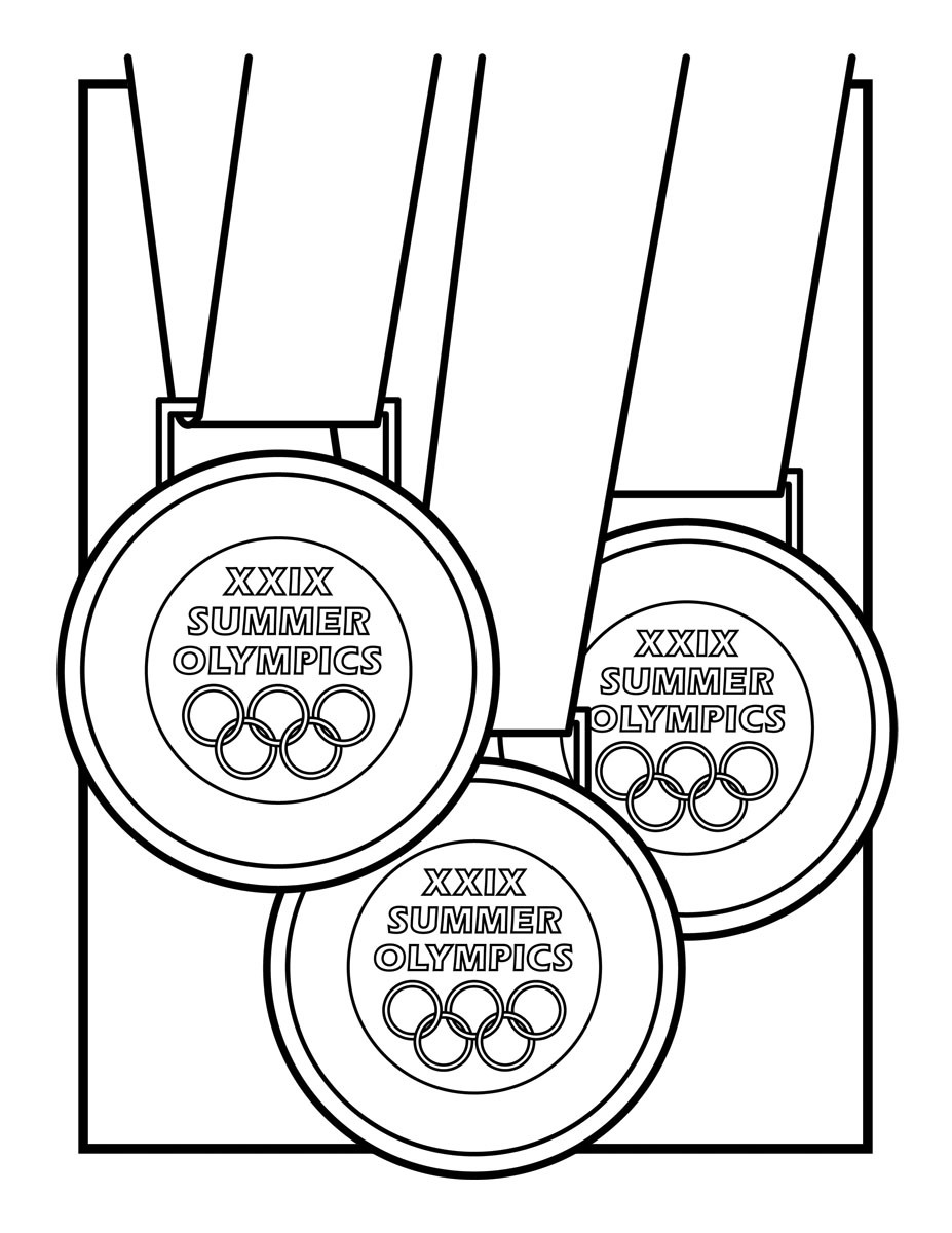 Gold medal clipart black and white