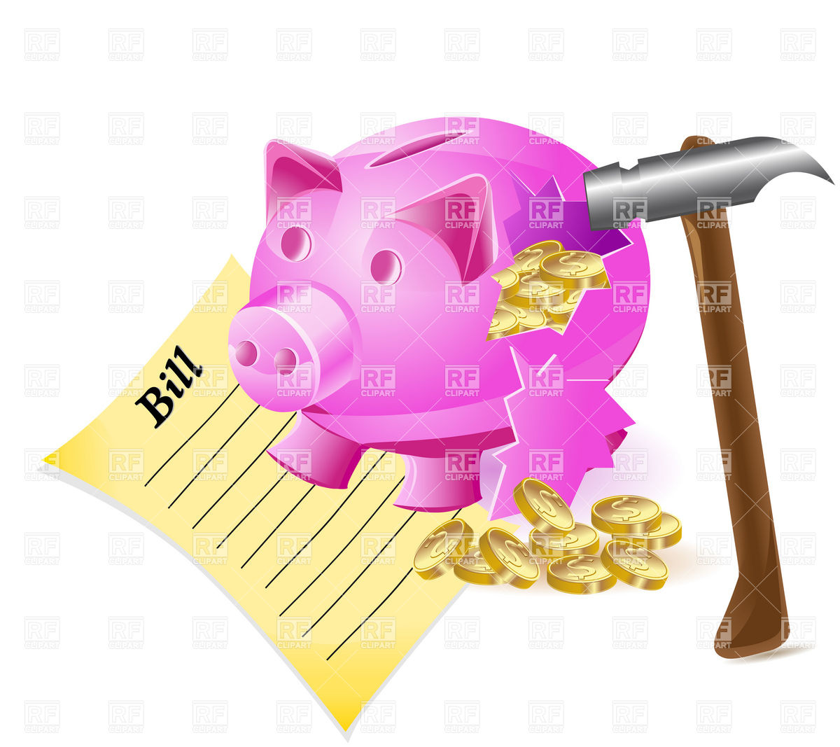 Piggy Bank And Coins Download Royalty Free Vector Clipart  Eps