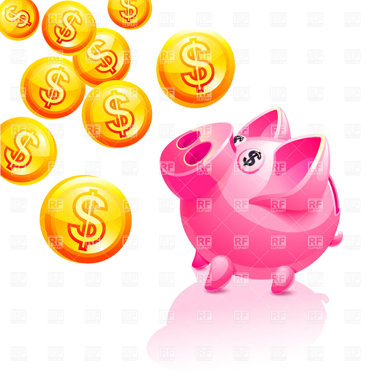 Piggy Bank And Falling Coins Download Royalty Free Vector Clipart