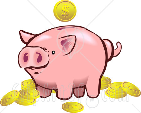 Piggy Bank And Coins Clipart - Clipart Suggest