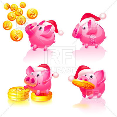 Piggy Bank With Coins Download Royalty Free Vector Clipart  Eps