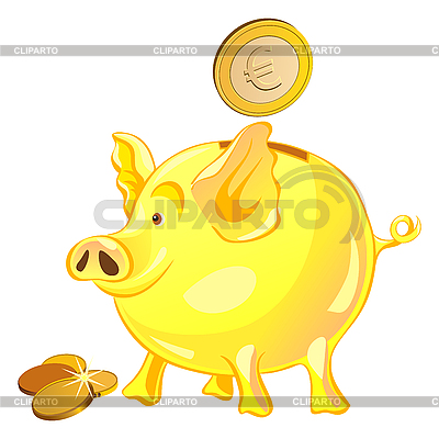 Piggy Bank With Gold Coins   Stock Vector Graphics   Id 3076800