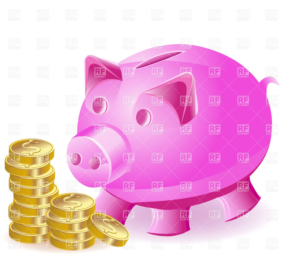 Pink Piggy Bank And Coins Objects Download Royalty Free Vector Clip