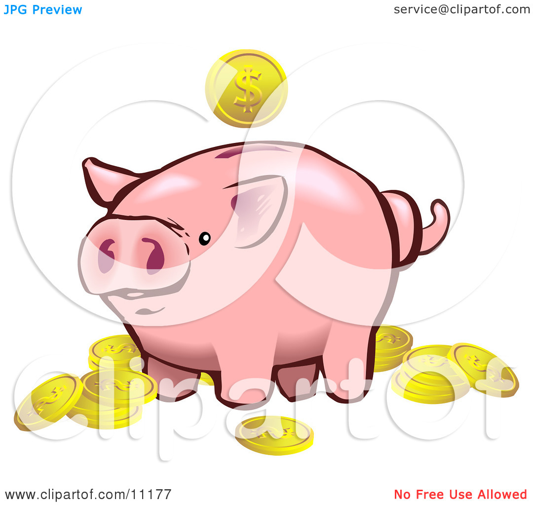 Pink Piggy Bank Surrounded By Golden Coins Clipart Illustration By Geo