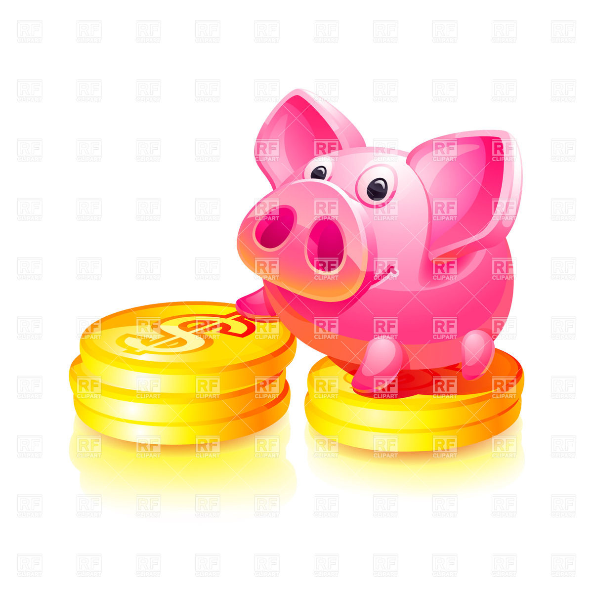 Pink Piggy Bank With Gold Coins 17128 Download Royalty Free Vector