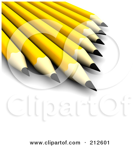 Royalty Free  Rf  Clipart Illustration Of 3d Sharp Yellow Pencils By