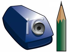 Sharp Pencil And A Pencil Sharpener   Royalty Free Clipart Picture