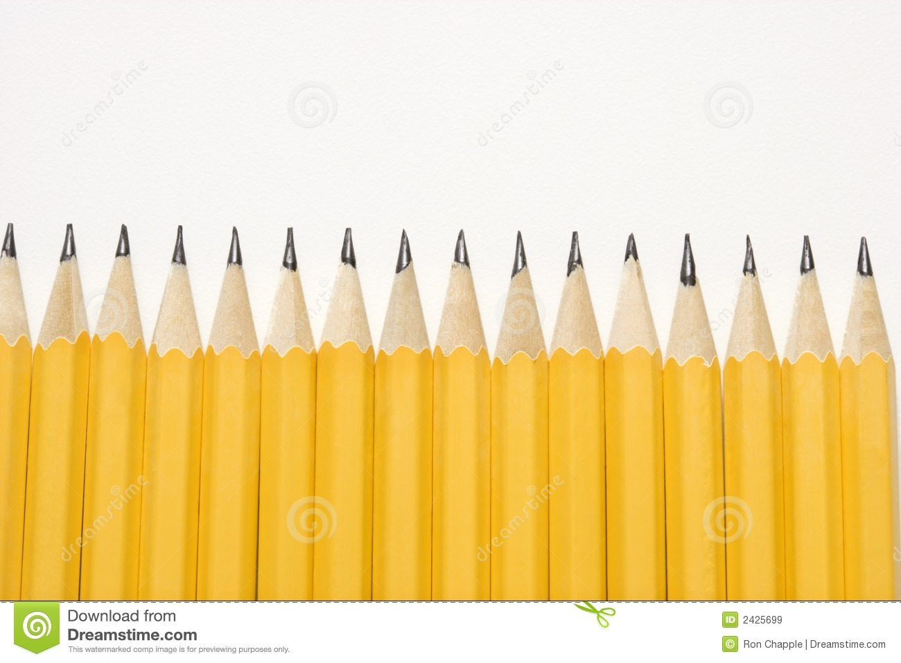 Sharp Pencils Lined Up In An Even Row