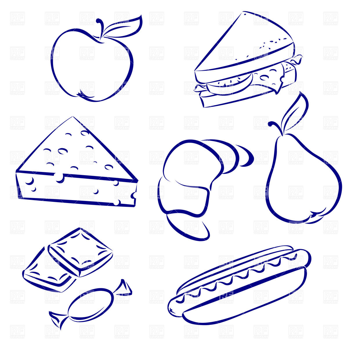 Snack Food Outline   Sandwich Fruit And Croissant 16322 Silhouettes