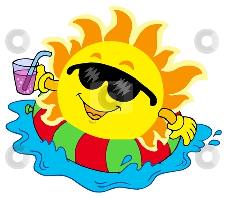 Sun With Drink In Water Stock Vector Clipart Sun With Drink In Water