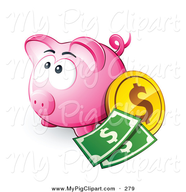 Swine Clipart Of A Wide Eyed Pink Piggy Bank With Cash And Coins By