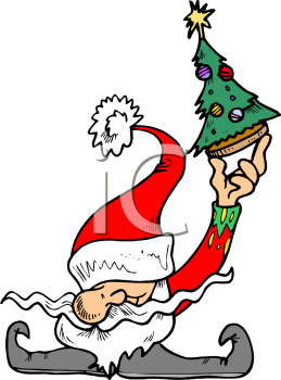 Tiny Little Elf Holding Up A Christmas Tree   Royalty Free Clipart