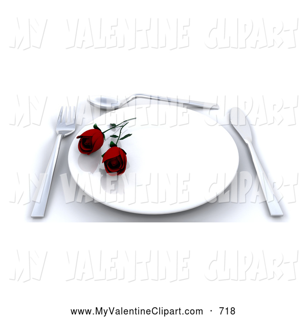 Valentine Clipart Of A Romantic Place Setting With Two Red Roses On A