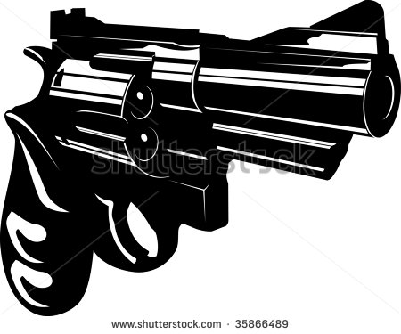 Vector Illustration Of A Gun Black And White   Stock Vector