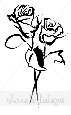 Black And White Roses Clipart