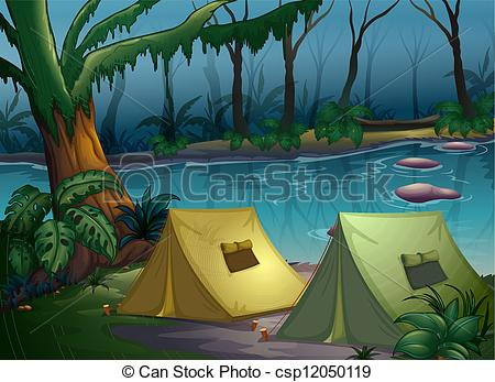 Camping In The Woods Clipart A Tent Camp In The Woods