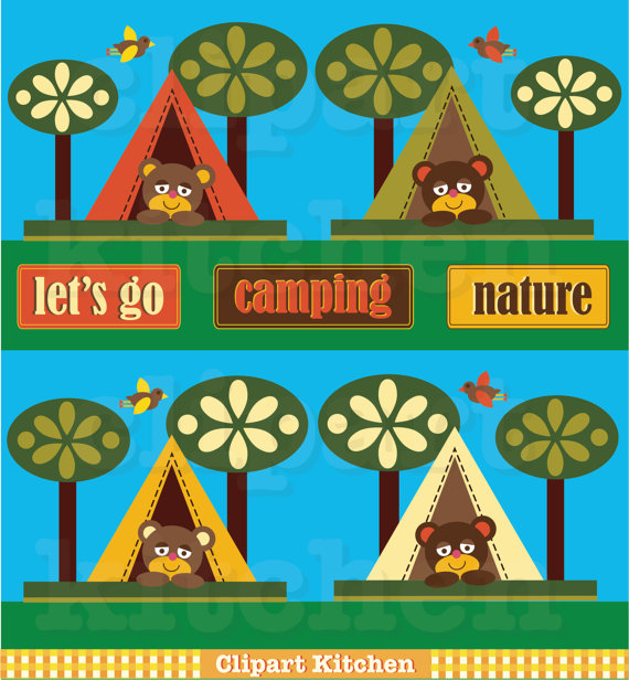 Camping In The Woods Clipart Camping Bear Clipart Set