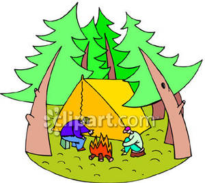 Camping In The Woods   Royalty Free Clipart Picture
