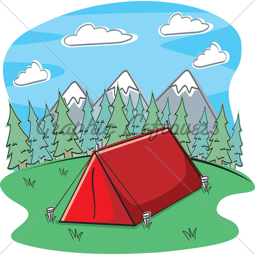 Cartoon Red Tent In The Forest