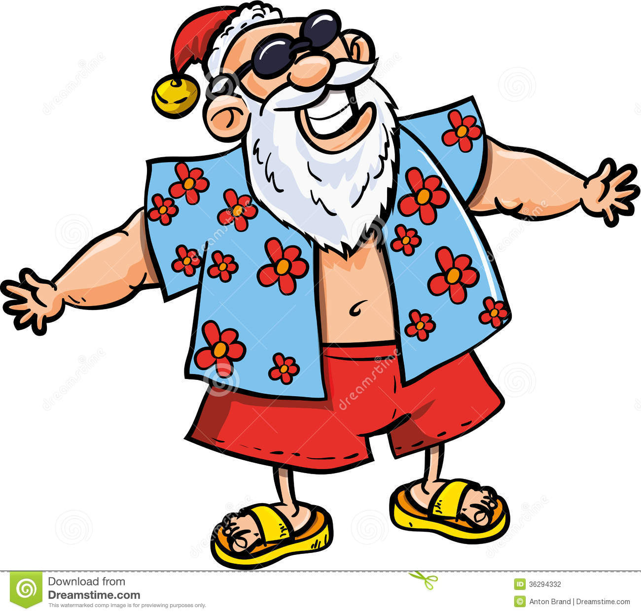 Cartoon Santa On Vacation Stock Photography   Image  36294332