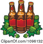 Clipart Brewery Beer Bottles And Hops Royalty Free Vector Illustration