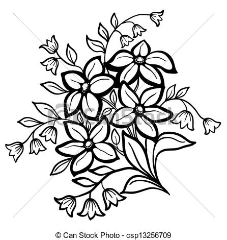 Clipart Of Beautiful Flower Arrangement A Black Outline On A White