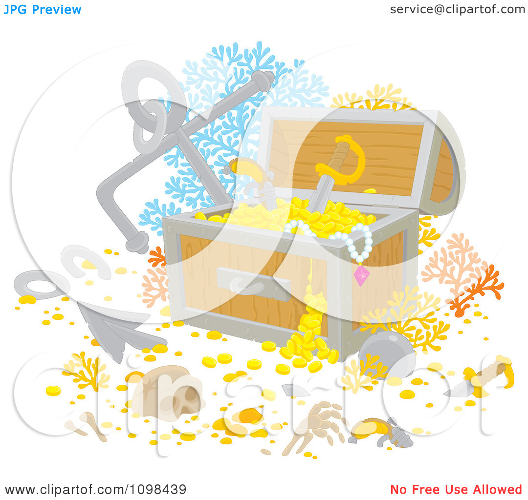Clipart Sunken Treasure Chest With Gold Bones Coral And An Anchor