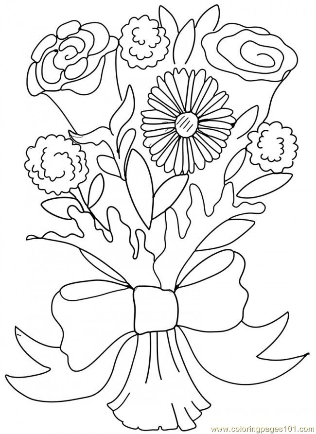 Coloring Pages Rose Carnation Valentine Bouquet 650x893  Entertainment