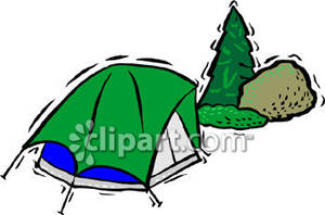 Green Tent In The Woods   Royalty Free Clipart Picture