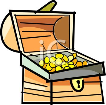 Picture Of A Treasure Chest Of Gold Coins In A Vector Clip Art