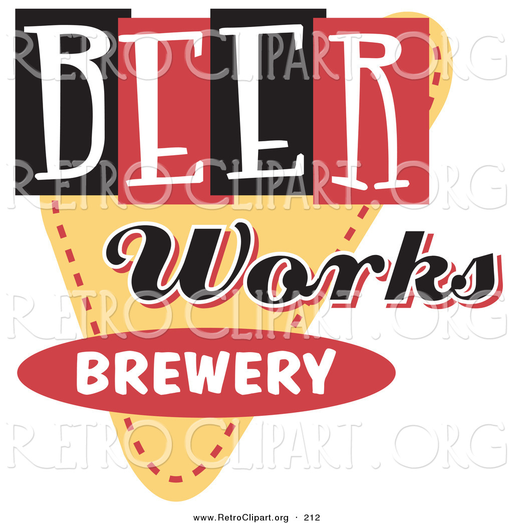Retro Clipart Of A Vintage Beer Works Brewery Advertisement Sign By