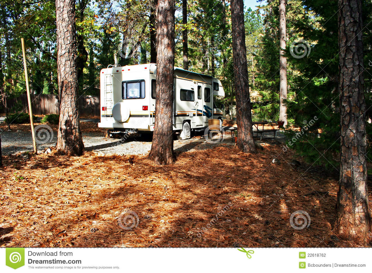 Rv Camping In The Woods Stock Photography   Image  22618762