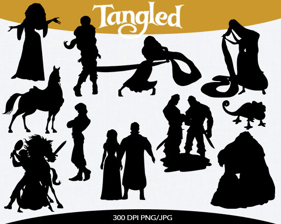 Spring Sale Tangled Instant Download Silhouette Clipart Digital Png